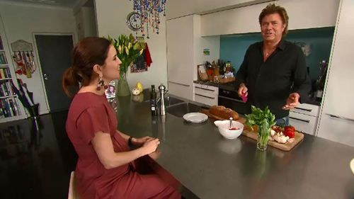 Higgins visited TODAY entertainment editor Richard Wilkins. (9NEWS)