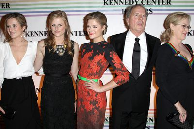 Unfortunately-named Mamie Gummer (what were you thinking, Meryl?) got her first positive critic's review at the tender age of three while acting alongside her momma in the movie <i>Heartburn</i>. Little Mamie was credited under the false name Natalie Stern to avoid publicity. Seen here alongside her parents and actress sister Grace, Mamie rejoined her mother on screen as a grown-up, playing a young version of Meryl's character in the film <i>Evening</i>.