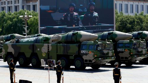 The DF-26 missile can be launched from land-based rocket units of China's People's Liberation Army such as this one.
