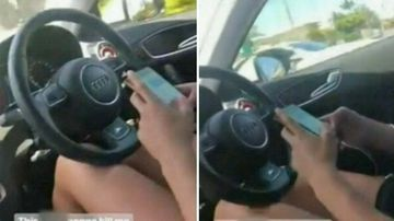 The driver can be seen steering with her knees while she used her mobile phone.