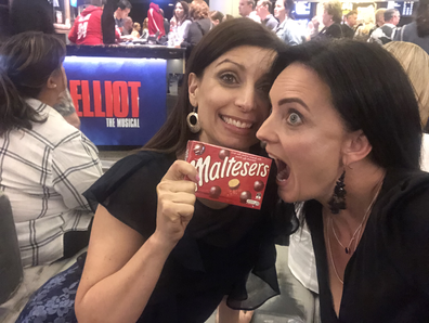 Jo Abi eating Maltesers at Billy Elliot The Musical