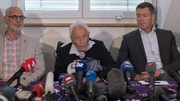 Philip Nitschke, founder and director of the pro-euthanasia group Exit International, 104-year-old Australian scientist David Goodall and lawyer Moritz Gal