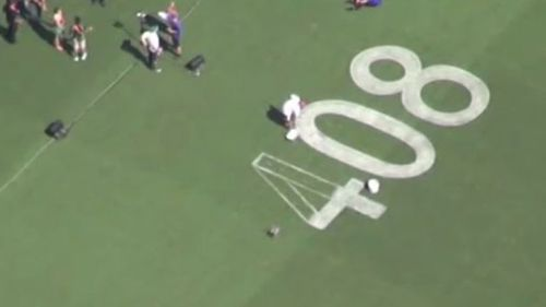 Hughes' number, 408, has been painted on the Adelaide Oval. (9NEWS)