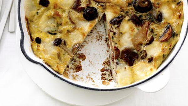 Mushroom and fontina frittata