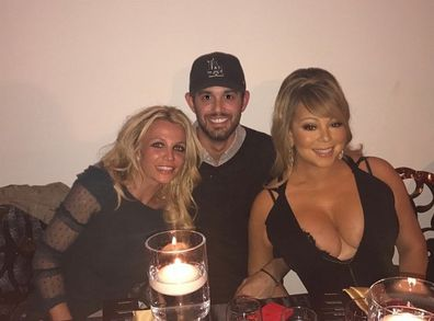 Britney Spears with her agent Cade Hudson and singer Mariah Carey.