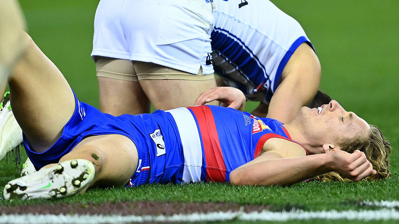 Concerns for Bulldogs star Aaron Naughton's health after 'self-concussion' in win