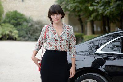 Milla Jovovich arriving at Christian Dior, Paris Fashion Week