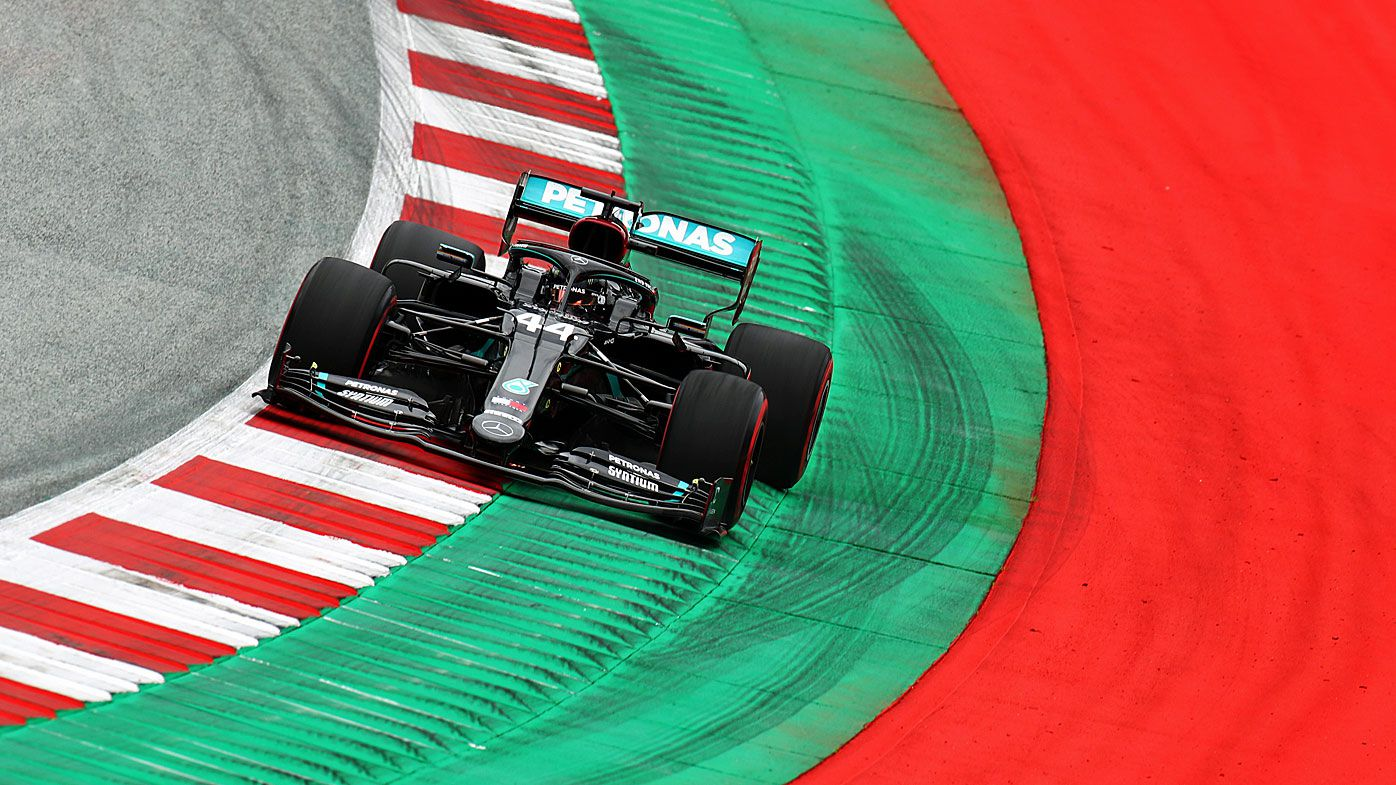 Lewis Hamilton of Great Britain driving the (44) Mercedes AMG Petronas F1 Team Mercedes W11 on track