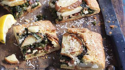 Potato, kale and pancetta party food tarts