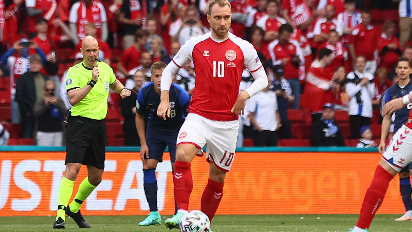 Christian Eriksen of Denmark kicks off during the UEFA Euro 2020 Championship Group B match between Denmark and Finland
