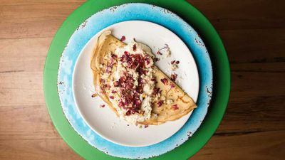 "<a href=""http://kitchen.nine.com.au/2017/01/13/15/42/blue-cabooses-bella-fraise-crepe"" target=""_top"">Blue Caboose's Bella Fraise crepe</a><br /> <br /> <a href=""http://kitchen.nine.com.au/2016/11/11/17/10/cracking-crepes"" target=""_top"">More crepe recipes</a>"