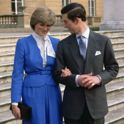 Princess Diana and Prince Charles announce their engagement outside Buckingham Palace.