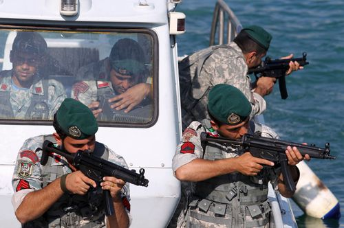 A file photo showing Iranian naval forces carry out drills in the Straits of Hormuz.