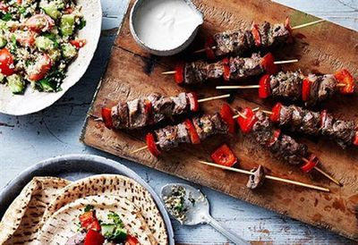 Mini lamb souvlaki with cracked wheat salad