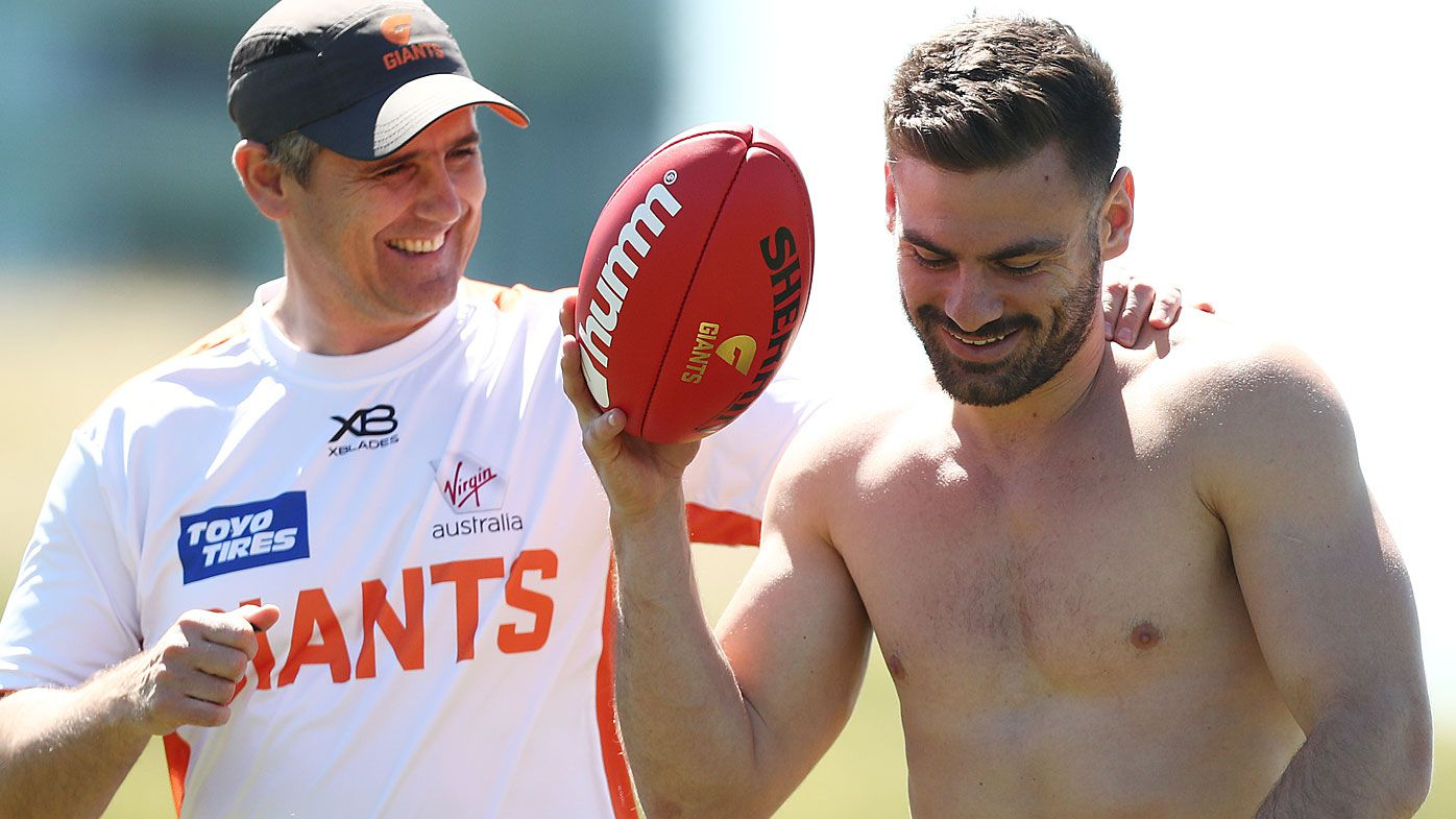 Giants coach Leon Cameron and Stephen Coniglio