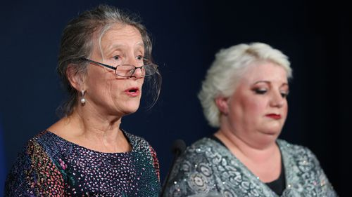 Sisters of Gaye Baker, Robyn Johnson (left) and Annette Williscroft have made an emotional appeal to solve the case.