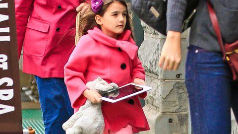 Seven-year-old Suri Cruise has mani-pedi and iPad fun with mum Katie and nanna