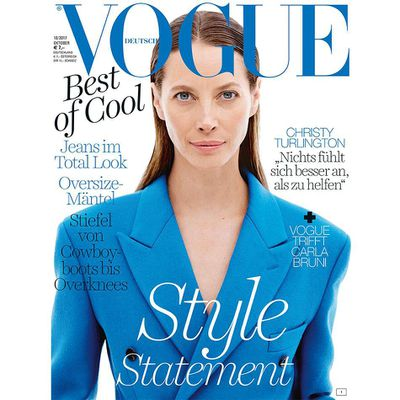 "<p>Nostalgia for '90s supermodels has been given its latest fix with Christy Turlington posing for the cover of the  October issue of <em>Vogue Germany.</em></p> <p>Clad in a bright blue suit by Calvin Klein, the 48-year-old let her natural beauty shine through with a bare-face and slicked-back hairdo on the minimalist cover shot by Daniel Jackson.</p> <p>The mother-of-two is the latest '90s mega model to come back to the forefront of the fashion world,  with Helena Christensen and Cindy Crawford lighting up the front row at Tom Ford's S/S'18 show at  New York Fashion Week.</p> <p>In the '90s Christy was the face of Calvin Klein Eternity, Chanel, Versace and continues to model, appearing most recently in Tiffany & Co. campaign.</p> <p> Married to director and actor Ed Burns, Christy prefers not to be weighed down by the supermodel tag.<br /> ""It didn't mean anything to me. It was just, like, 'Ewww,' "" Christy told <em><a href=""https://www.google.com.au/search?q=%22It+didn%27t+mean+anything+to+me.+It+was+just%2C+like%2C+%27Ewww%2C%27+%22+Christy+told+Town+%26+Country+magazine.&rlz=1C1CHFX_enAU747AU747&oq=%22It+didn%27t+mean+anything+to+me.+It+was+just%2C+like%2C+%27Ewww%2C%27+%22+Christy+told+Town+%26+Country+magazine.&aqs=chrome..69i57.311j0j7&sourceid=chrome&ie=UTF-8"" target=""_blank"" draggable=""false"">Town & Country</a></em><a href=""https://www.google.com.au/search?q=%22It+didn%27t+mean+anything+to+me.+It+was+just%2C+like%2C+%27Ewww%2C%27+%22+Christy+told+Town+%26+Country+magazine.&rlz=1C1CHFX_enAU747AU747&oq=%22It+didn%27t+mean+anything+to+me.+It+was+just%2C+like%2C+%27Ewww%2C%27+%22+Christy+told+Town+%26+Country+magazine.&aqs=chrome..69i57.311j0j7&sourceid=chrome&ie=UTF-8"" target=""_blank"" draggable=""false""> magazine.</a> </p> <p>""When it blew up I felt the same: The tabloid nature was to take something, grow it, manipulate it into not the real thing. And it was embarrassing."" </p> <p> Christy's main focus today is Every Mother Counts, a not for profit organisation dedicated to making pregnancy and childbirth safe in the US. Christy established the organisation in 2010, having experienced a postpartum haemorrhage in 2003 when daughter Grace was born. (Finn, her son, was born two and a half years later.)</p> <p>Click through to see some of Christy Turlington's most iconic model moments.</p>"