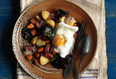 Bubble and squeak with poached eggs