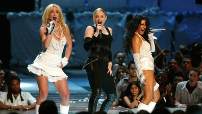 Britney Spears, Madonna and Christina Aguilera during 2003 MTV Video Music Awards.