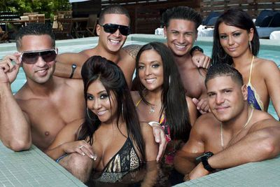 """<b>The awe-inspiring premise: </b>Eight of the (their words) """"hottest, tannest, craziest Guidos"""" ('Guidos' being an ethnic slur for Italians and Italian Americans) get drunk, naked and obscene. So, it's just like every other MTV reality TV show, only five to ten times more racially insensitive. Oh, and one of its stars is a best-selling author (Snooki)."""