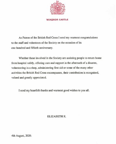 A letter from the Queen to the Red Cross to mark 150 years.