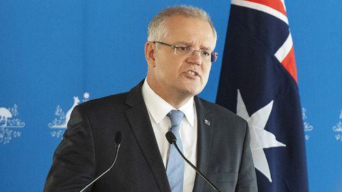 Australian Prime Minister Scott Morrison speaks at the Australia-Israel Chamber of Commerce lunch at Crown Aviary in Melbourne.