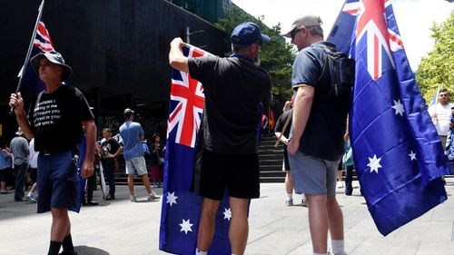 Reclaim Australia protestors have arrived at Martin Place, in Sydney's CBD. (AAP)