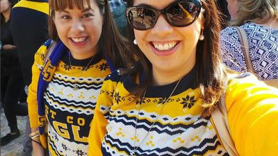 Some West Coast Eagles fans sporting the teams new knitted jumpers. (Instagram: @missyyb)