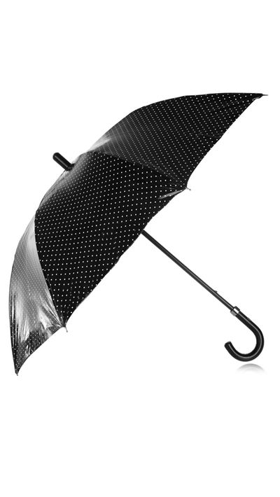 "<p><a href=""http://www.net-a-porter.com/product/509071"" target=""_blank"">PU-Coated Polka-Dot Cotton Umbrella, $850, Dolce &amp; Gabbana at net-a-porter.com</a></p>"
