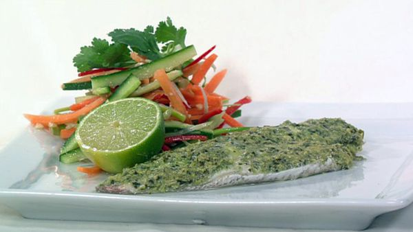 Steamed snapper with coconut & basil sauce
