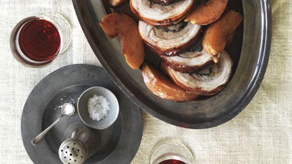 Braised pork belly rotolo with quince and salsa di porto