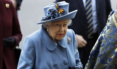 Britain's Queen Elizabeth II arrives to attend the annual Commonwealth Day service at Westminster Abbey in London, Monday, March 9, 2020.