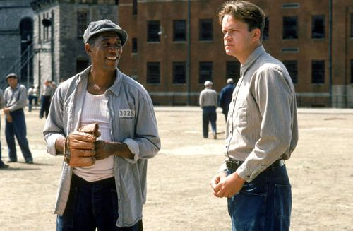 Red and Andy, played by Morgan Freeman and Tim Robbins, talk in the prison yard during a scene in the 1994 classic Shawshank Redemption.