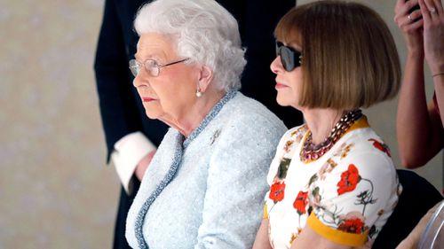Queen Elizabeth II attends the Richard Quinn show in London. (Getty)
