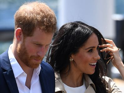Harry and Meghan, the Duchess of Sussex arriving at the Sydney Opera House in Sydney.