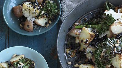 """Recipe: <a href=""""http://kitchen.nine.com.au/2016/05/05/14/24/tuscan-potatoes-with-kale-chips"""" target=""""_top"""">Tuscan potatoes with kale chips</a>"""