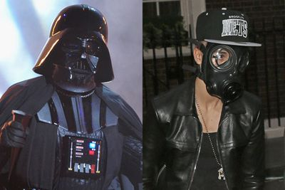 March 2013 till now: How do you go unnoticed in public? Why, adopt an inconspicuous disguise like Darth Vader! Bieber, that's very Amanda Bynes of you. He's also been seen wearing a <i>V For Vendetta</i> mask.