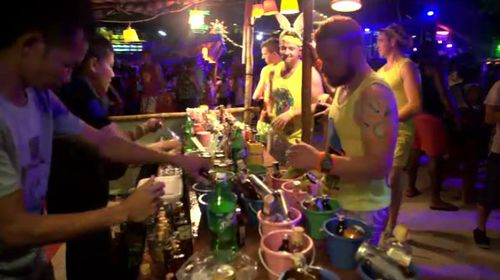 Party goers at Thailand's infamous full moon party. (A Current Affair)