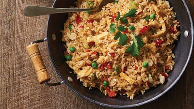 """Recipe: <a href=""""http://kitchen.nine.com.au/2017/06/27/09/14/vegetarian-fried-rice"""" target=""""_top"""">Vegetarian fried rice</a><br /> <br /> More: <a href=""""http://kitchen.nine.com.au/2016/06/06/22/56/quick-and-easy-meals-with-rice"""" target=""""_top"""">rice recipes</a>"""