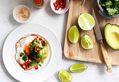 Fried egg, avocado and chilli tacos