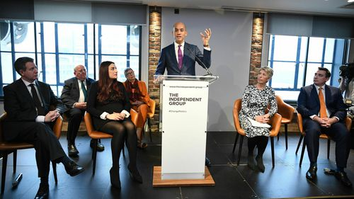 British MP Chuka Umunna speaks to the media during a press conference with a group of six other MPs as they quit the Labour Party.