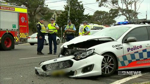 The police car was also heavily damaged in the collision.