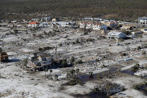 Many houses in Mexico Beach were reduced to naked concrete foundations or piles of rubble.