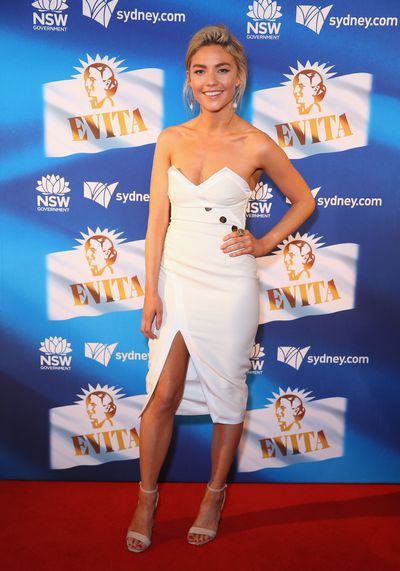 Former <em>Bachelorette Australia</em> star&nbsp;Sam Frost&nbsp;at the premiere of<em> Evita</em>, Sydney Opera House.