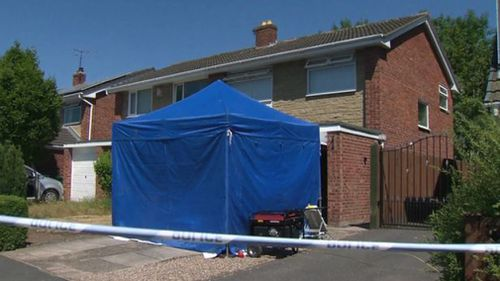 Police search a home and a car in Chester. Picture: AAP