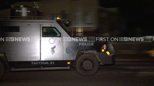 A Bearcat armoured personnel carrier at the scene.