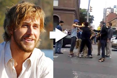 """Two men were brawling in the middle of a busy New York City street &mdash; most people just stood by and watched, but <a href=""""http://celebrities.ninemsn.com.au/videos/?videoid=462776D2-E928-4FE8-B1A5-A5279F965986"""">not Ryan Gosling</a>. He split them up and led them back to the curb. When he heard one man had stolen the other's painting, he asked the vendor how much it was worth. He then gave him $20 and everybody went their separate ways.<br/><br/><a href=""""http://celebrities.ninemsn.com.au/videos/?videoid=462776D2-E928-4FE8-B1A5-A5279F965986"""" target=""""new"""">See the video...</a>"""