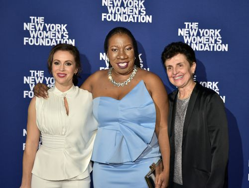 Alyssa Milano, founder of the #MeToo movement Tarana Burke and Ana Oliveira.