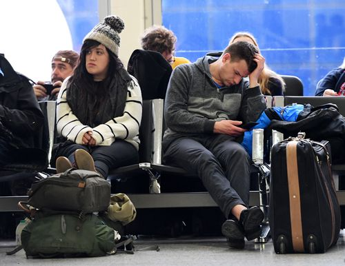 Passengers stranded in Gatwick Airport.
